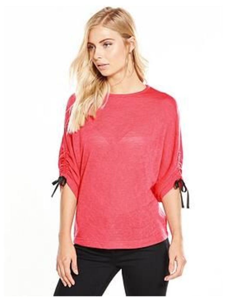 V By Very Tie Ruched Sleeve Snit Top - Hot Pink