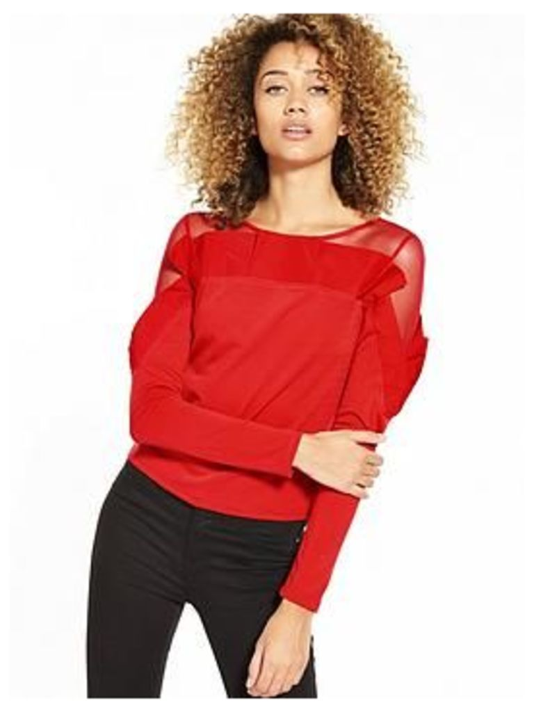 Lost Ink Lightweight Oversized Pleated Top - Red