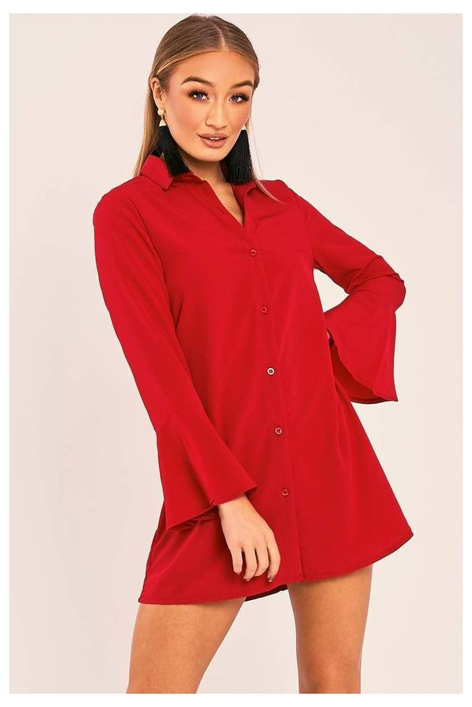 Red Dresses - Charlize Red Flared Sleeve Silky Shirt Dress