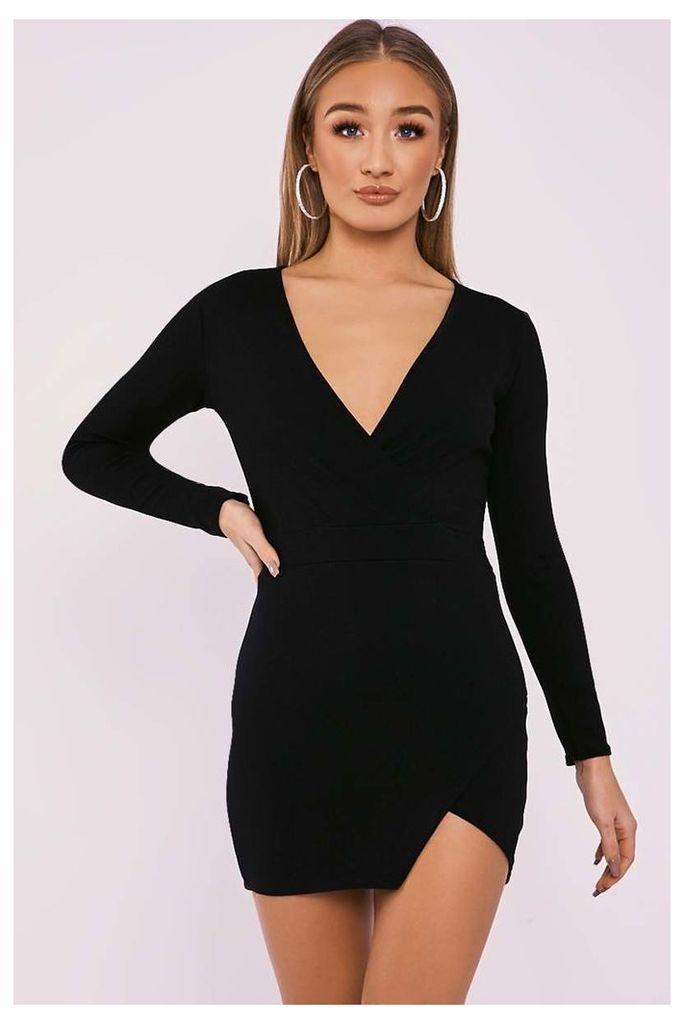 Black Dresses - Flynn Black Long Sleeve Plunge Wrap Dress