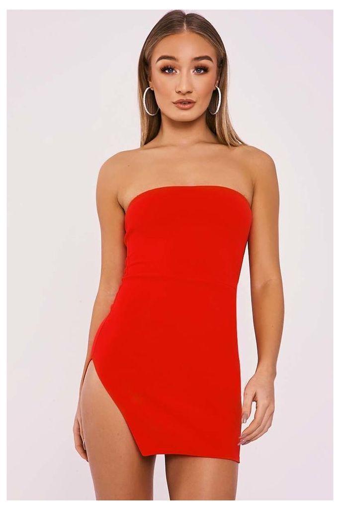 Red Dresses - Delora Red Cut Out Split Leg Bandeau Dress