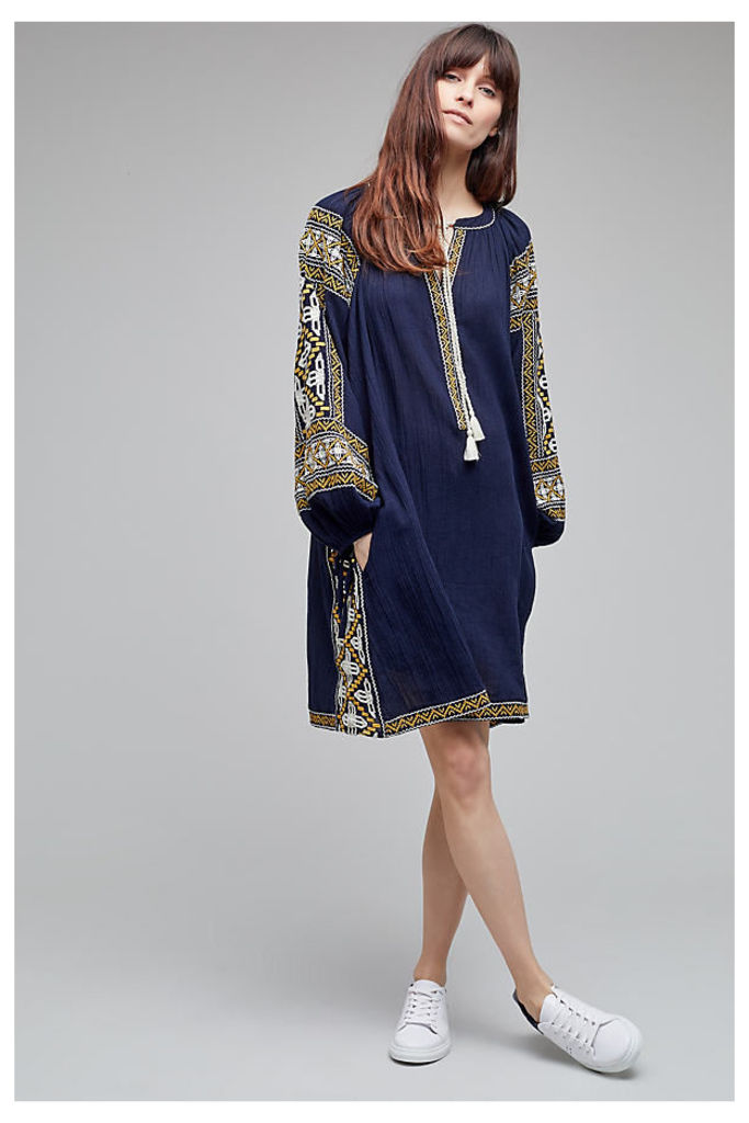 Anjou Embroidered Tunic Dress - Navy, Size Xs