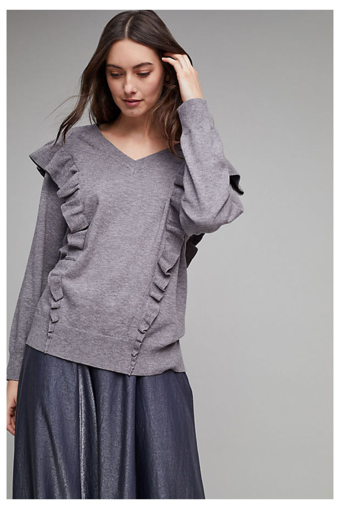 Cherrelle Frilled V-neck Sweater - Grey, Size S