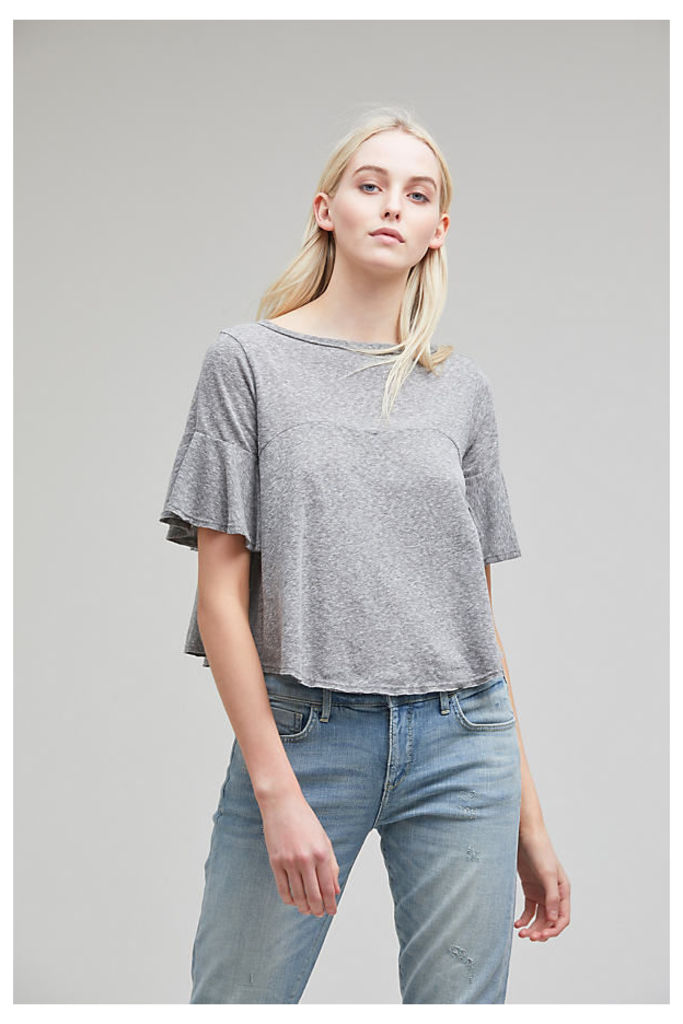 Britt Flutter-Sleeved Top - Light Grey, Size Xs