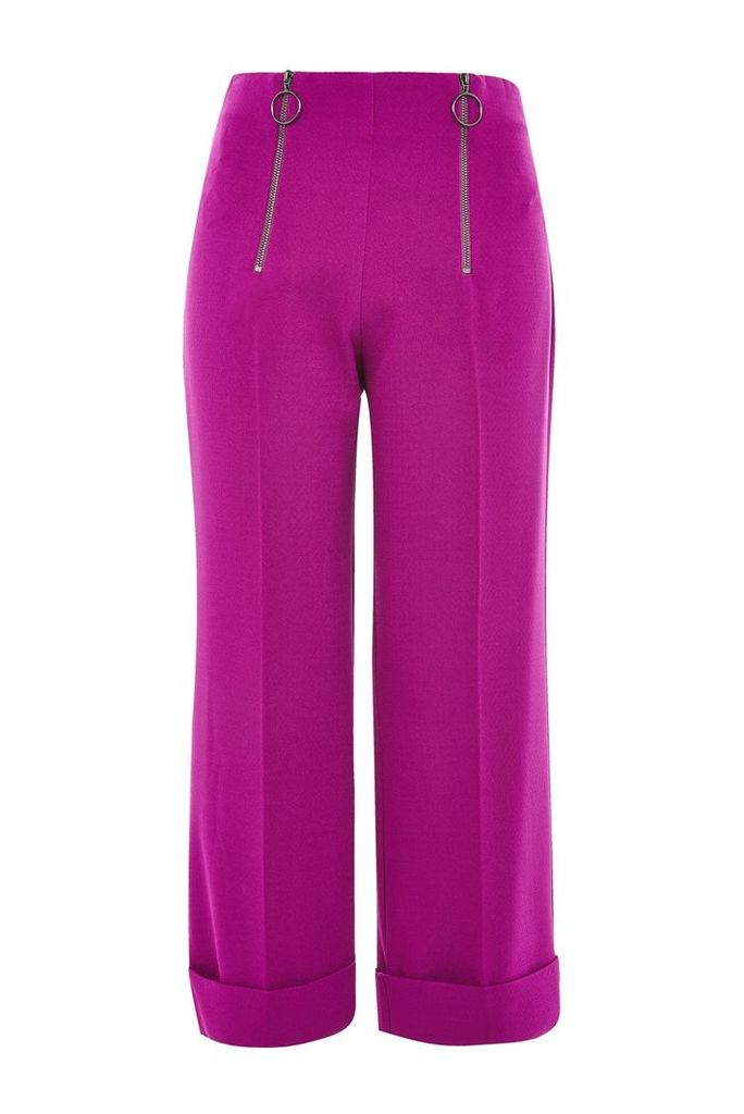 Womens PETITE Double Zip Wide Leg Trousers - Purple, Purple
