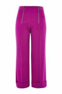 Womens PETITE Double Zip Wide Leg Trousers - Purple, Purple