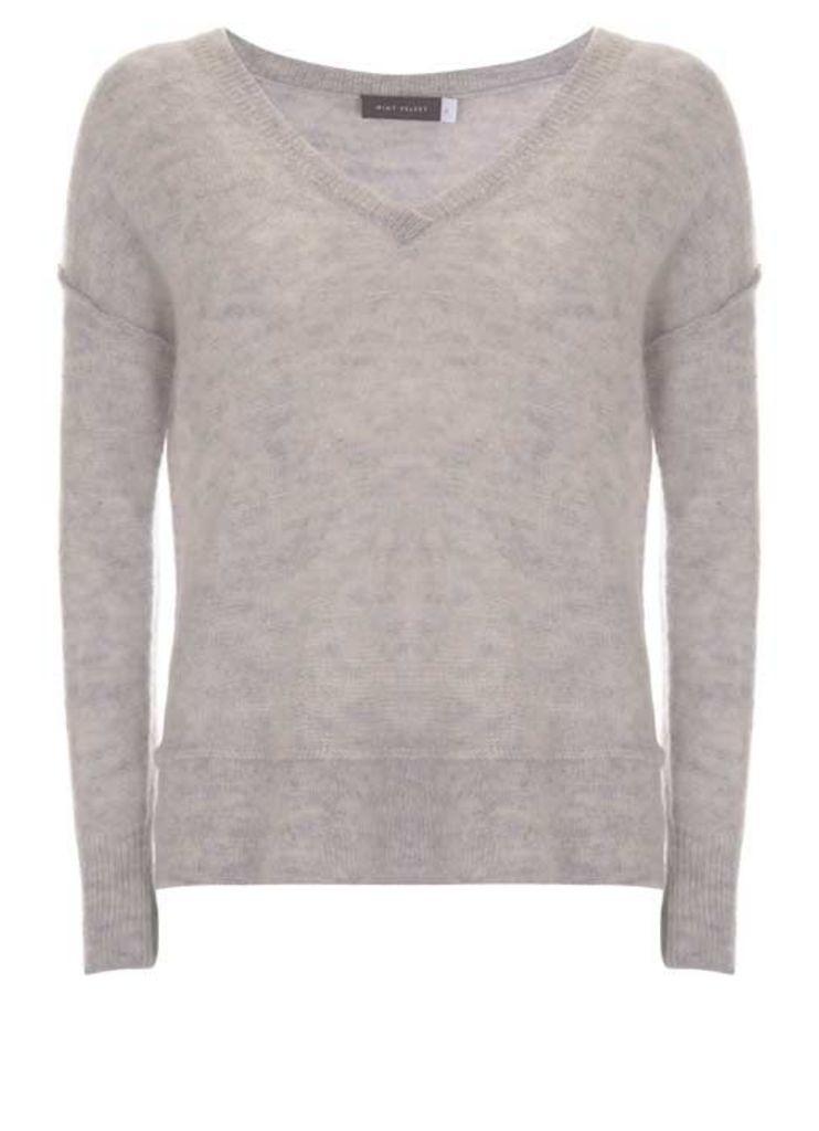 Grey Raw Seam Detail Knit