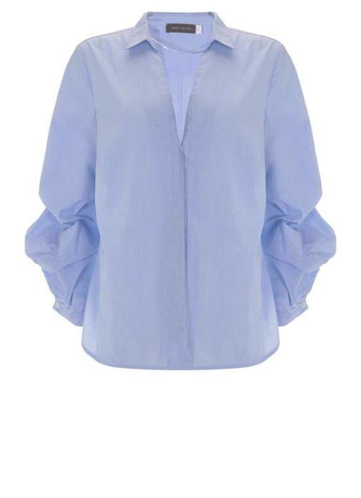 Sky Ruffle Sleeve Shirt