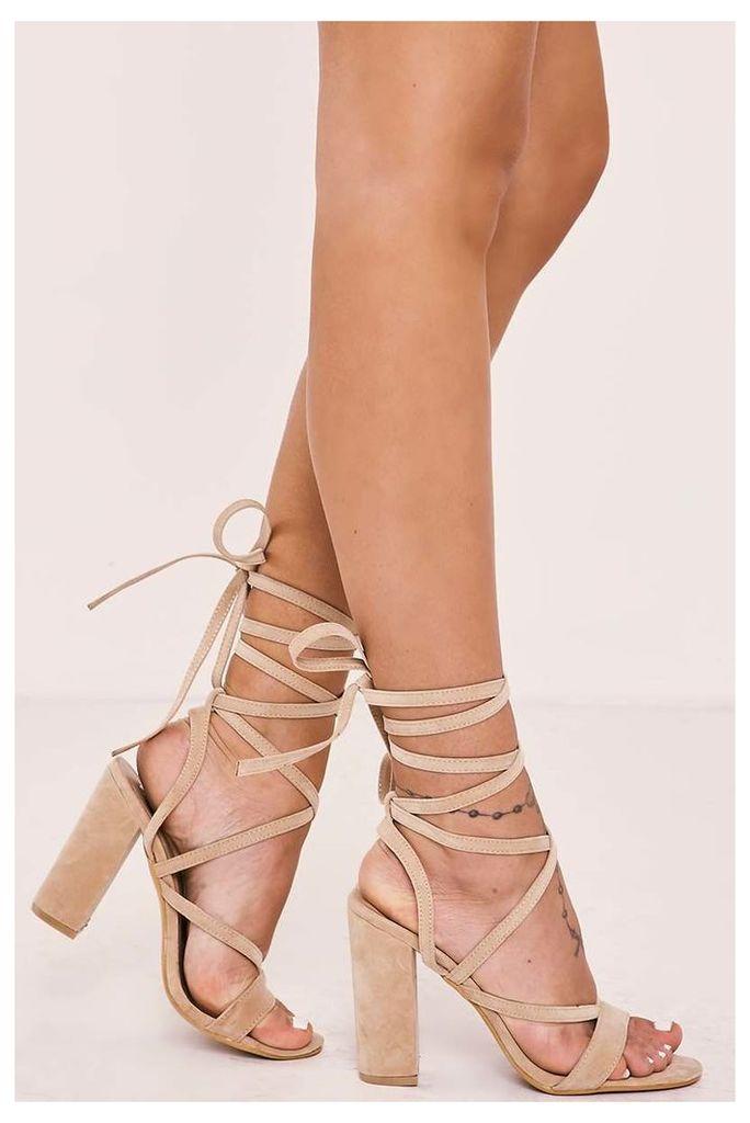 Nude Heels - Zayla Nude Faux Suede Tie Leg Heels