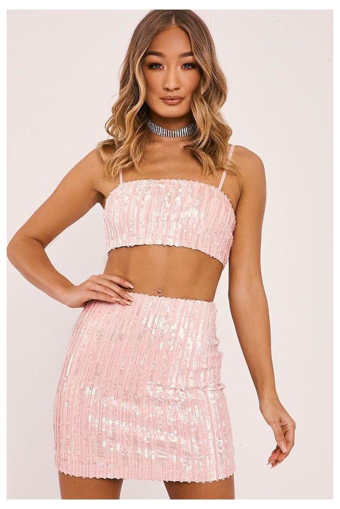 Pink Tops - Leyli Pink Velvet Sequin Crop Top