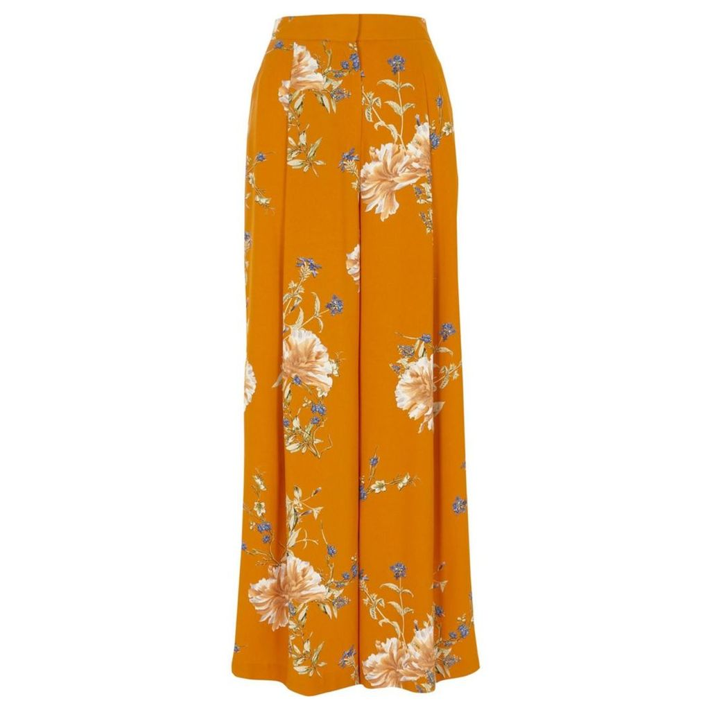 River Island Womens Orange floral print wide leg trousers