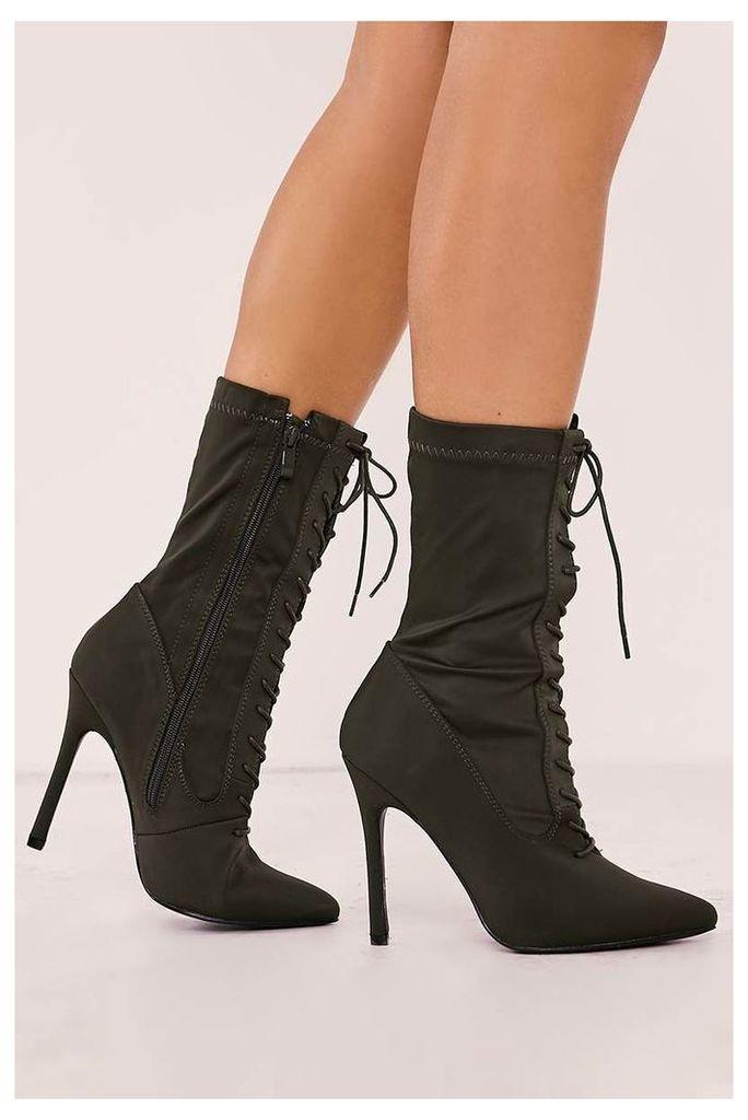 Khaki Boots - Stassi Khaki Lace Up Heeled Sock Boots