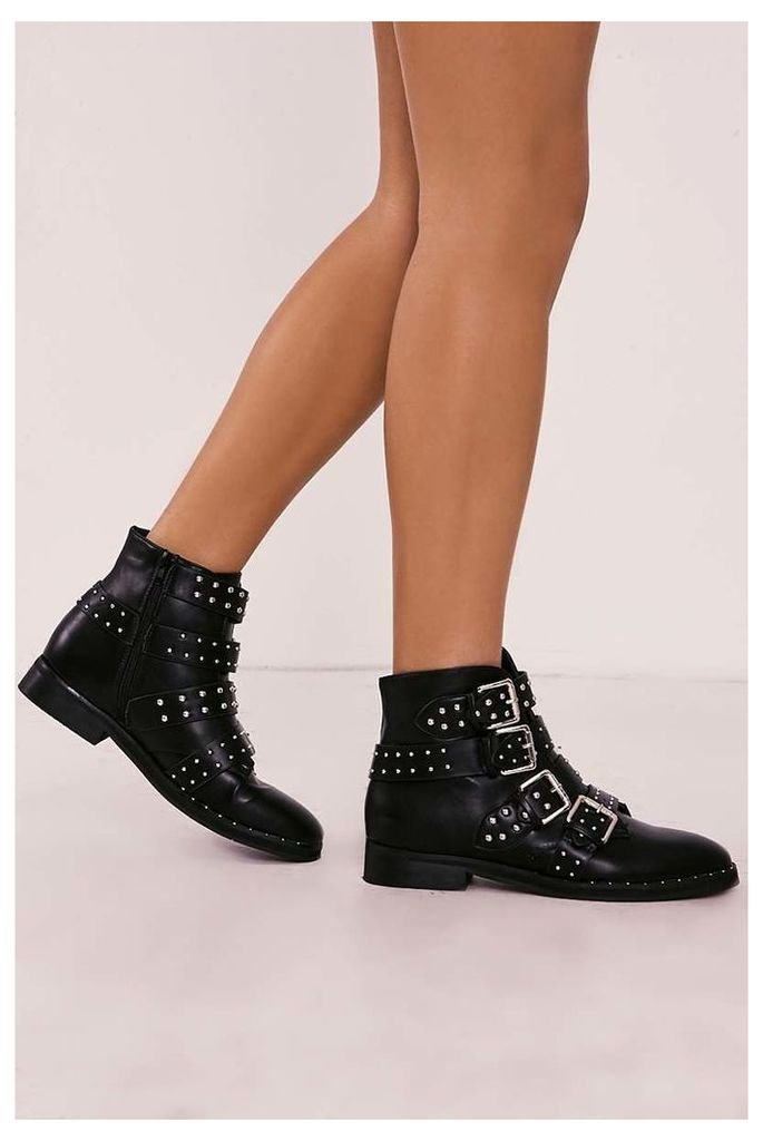 Black Boots - Rae Black Studded Buckle Strap Ankle Boot