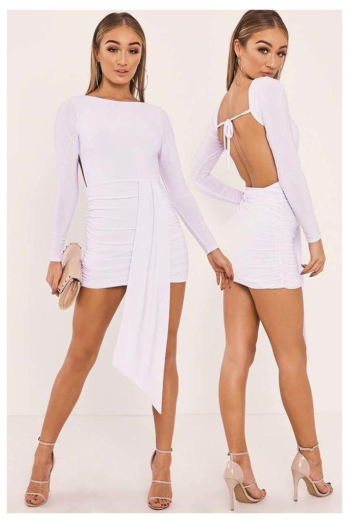 White Dresses - Hailey White Slinky Drape Front Backless Mini Dress