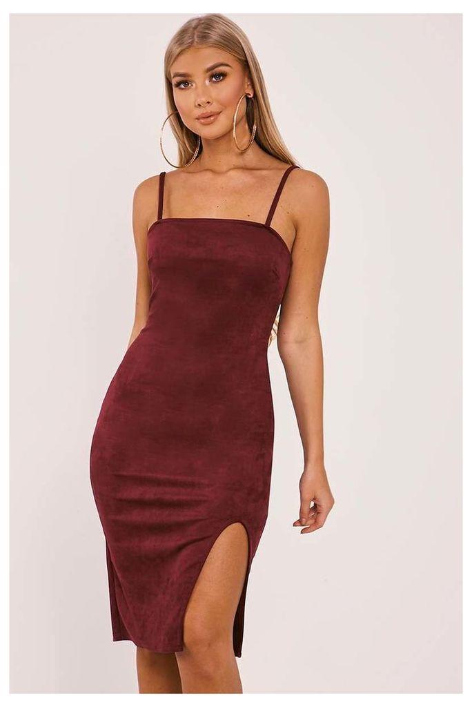 Berry Dresses - Billie Faiers Berry Faux Suede Side Split Midi Dress