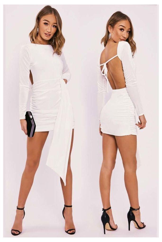 Cream Dresses - Franka Ivory Velvet Drape Front Backless Mini Dress