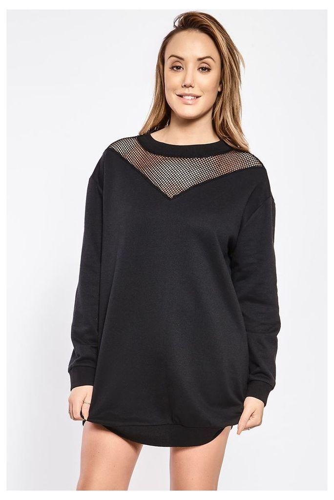 Black Dresses - Charlotte Crosby Black Mesh Insert Sweatshirt Dress