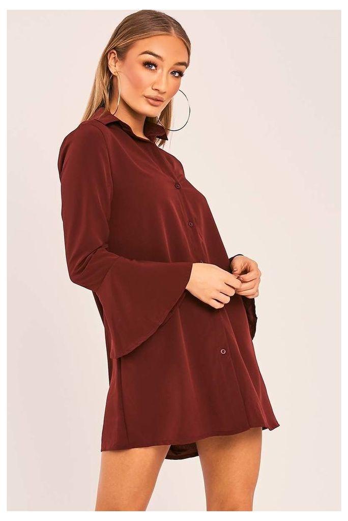 Wine Dresses - Charlize Wine Flared Sleeve Silky Shirt Dress