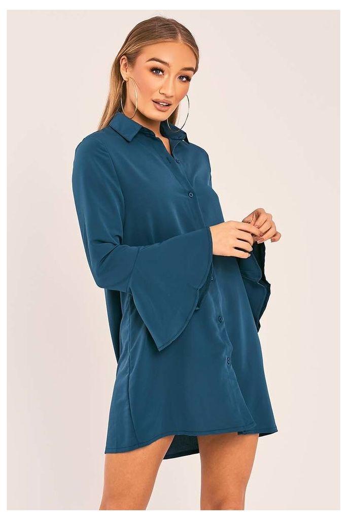 Green Dresses - Charlize Green Flared Sleeve Silky Shirt Dress