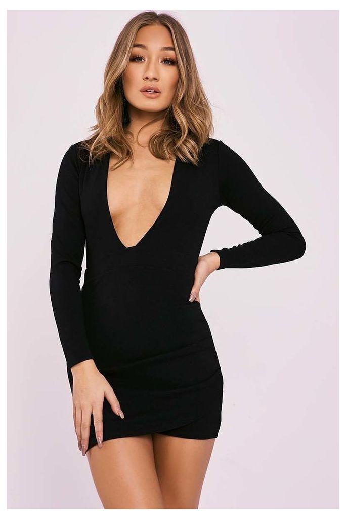 Black Dresses - Betsey Black Plunge Backless Long Sleeve Dress