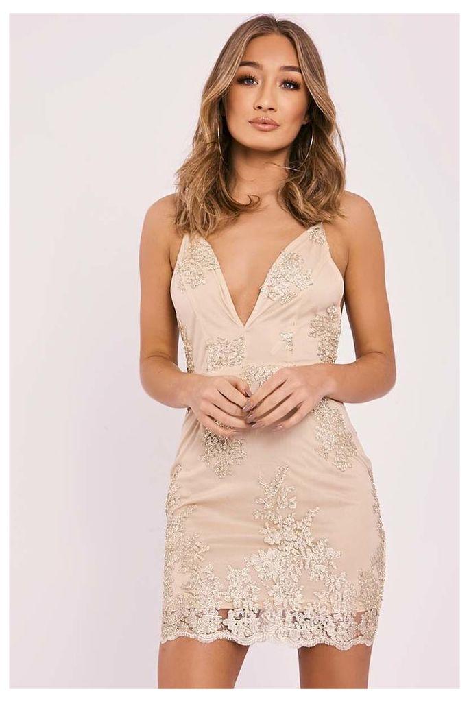 Gold Dresses - Aeryn Gold Metallic Lace Plunge Mini Dress