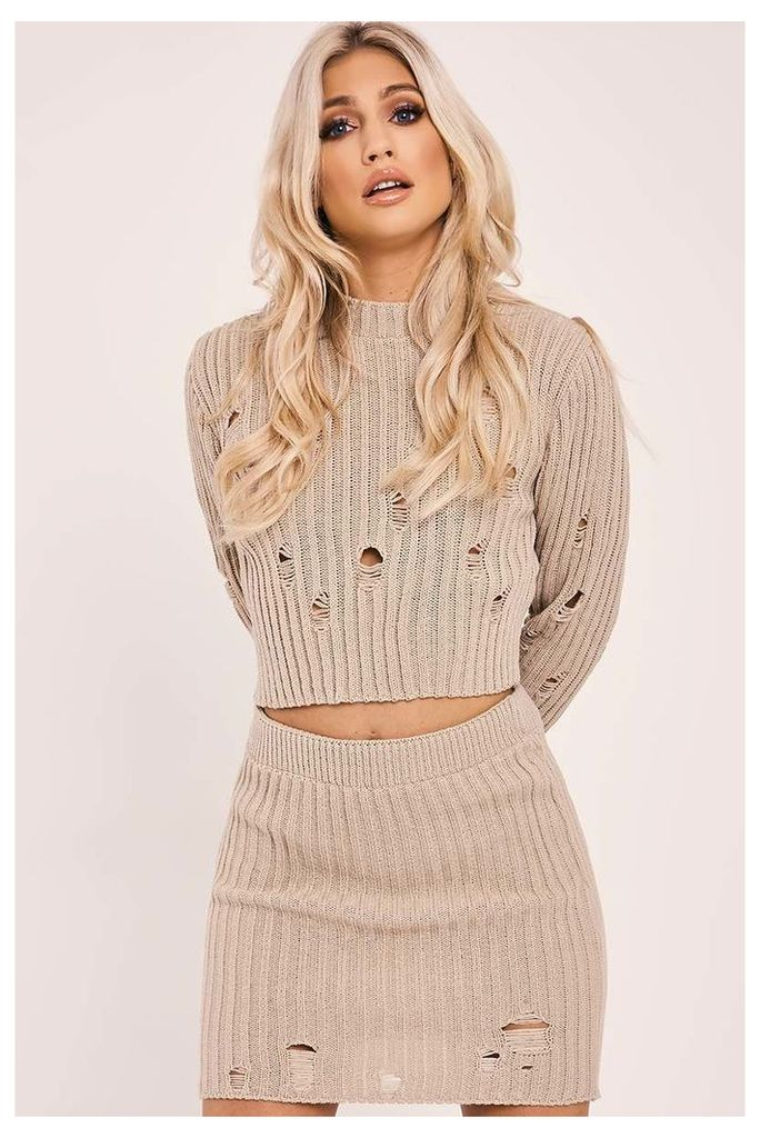 Stone Skirts - Ivey Stone Distressed Knit Top and Skirt
