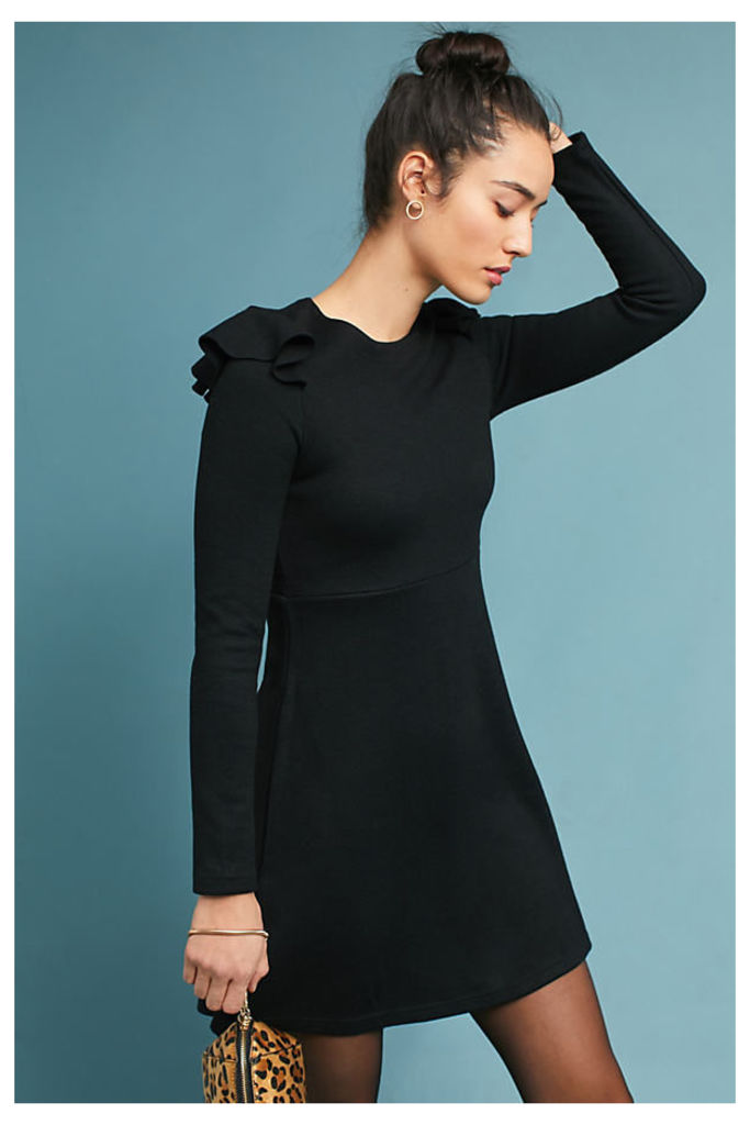 Ruffled Knit Dress - Black, Size L