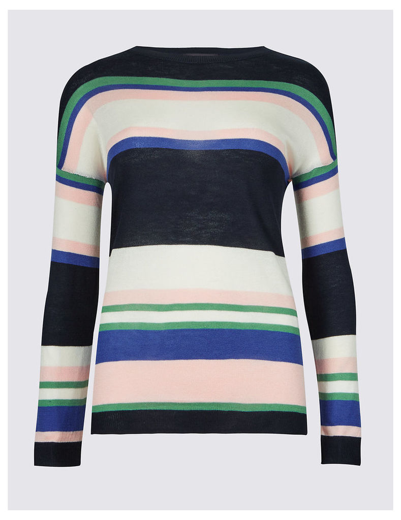 M&S Collection Striped Round Neck Jumper