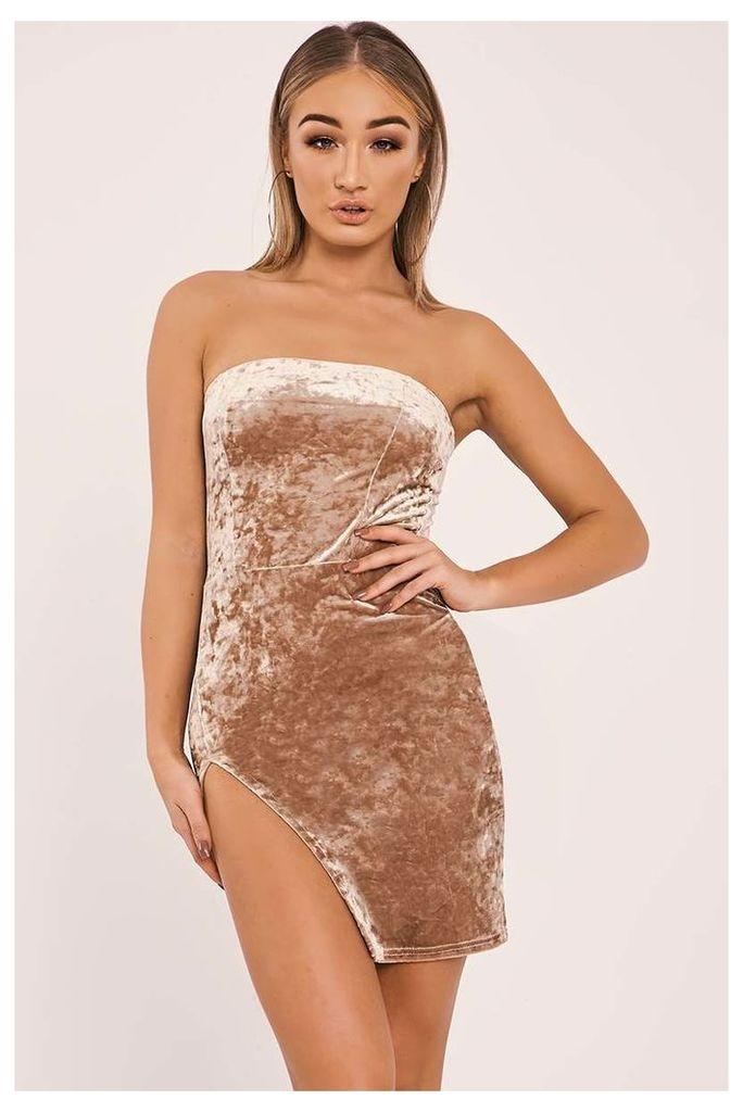 Gold Dresses - Daliy Gold Crushed Velvet Split Leg Bandeau Dress