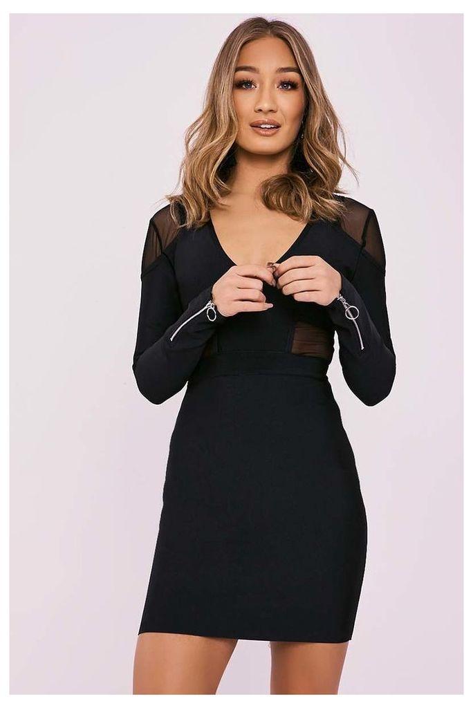 Black Dresses - Dyna Black Mesh Insert Plunge Bandage Dress