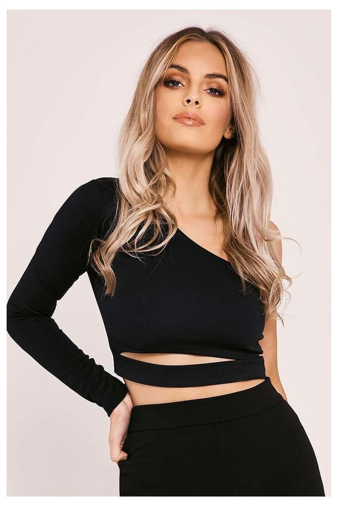 Black Tops - Imora Black One Shoulder Cut Out Crop Top