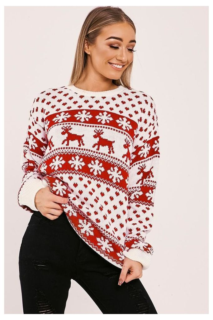 White Jumpers - Christmas Reindeer and Snowflake White Jumper