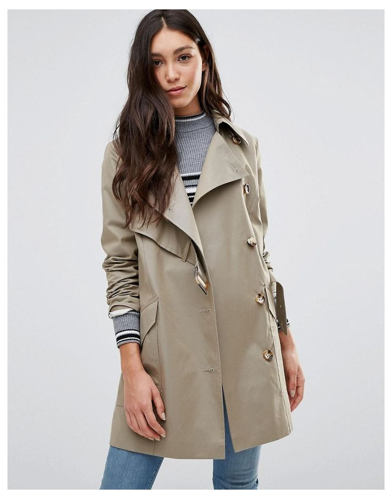 Cooper & Stollbrand Asymmetric Trench Coat In Stone - Stone