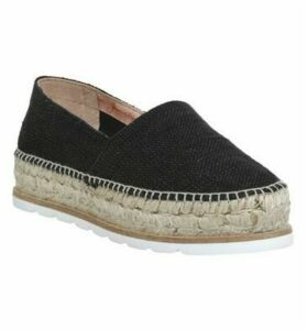 Gaimo for OFFICE Silencio Wedge Espadrilles BLACK LINEN METALLIC
