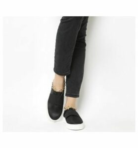 Office Coco Chain Satin Flatform BLACK