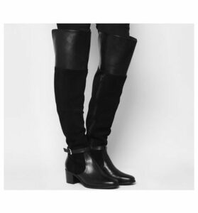 Office Kacey- Over The Knee Riding Boot BLACK SUEDELEATHER