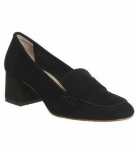 Office Mod Block Heel Loafer BLACK SUEDE