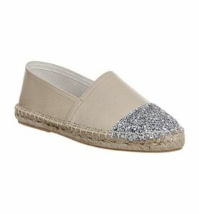 Office Lucky Espadrille With Toe Cap NUDE LEATHER SILVER GLITTER