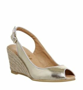 Office Magdalena Peep Toe Espadrille Wedge GOLD LEATHER
