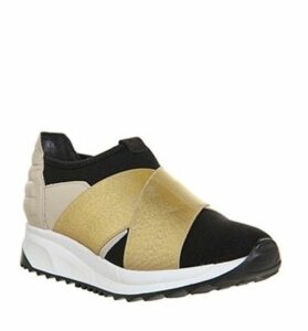 Oki Kutsu Sakura Cross Strap Runner BLACK IVORY GOLD