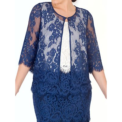 Chesca Eyelash Trim Lace Jacket, Riviera Blue