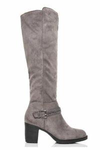Quiz Grey Diamante Trim Knee High Boots