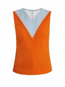 Emilia Wickstead - Iggy Contrast Panel Crepe Top - Womens - Orange