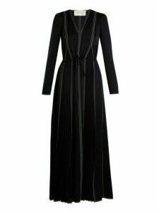 Valentino - V Neck Long Sleeved Hammered Satin Dress - Womens - Navy