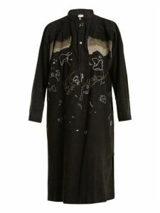Kilometre Paris - Tavan Tolgoï Embroidered Linen Shirtdress - Womens - Black