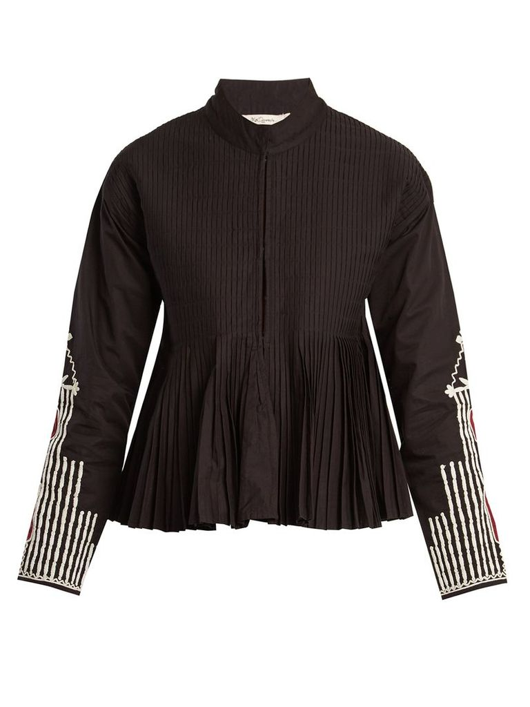 Artemis stand-collar embroidered pleated jacket