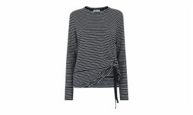 Side Gather Striped Tee