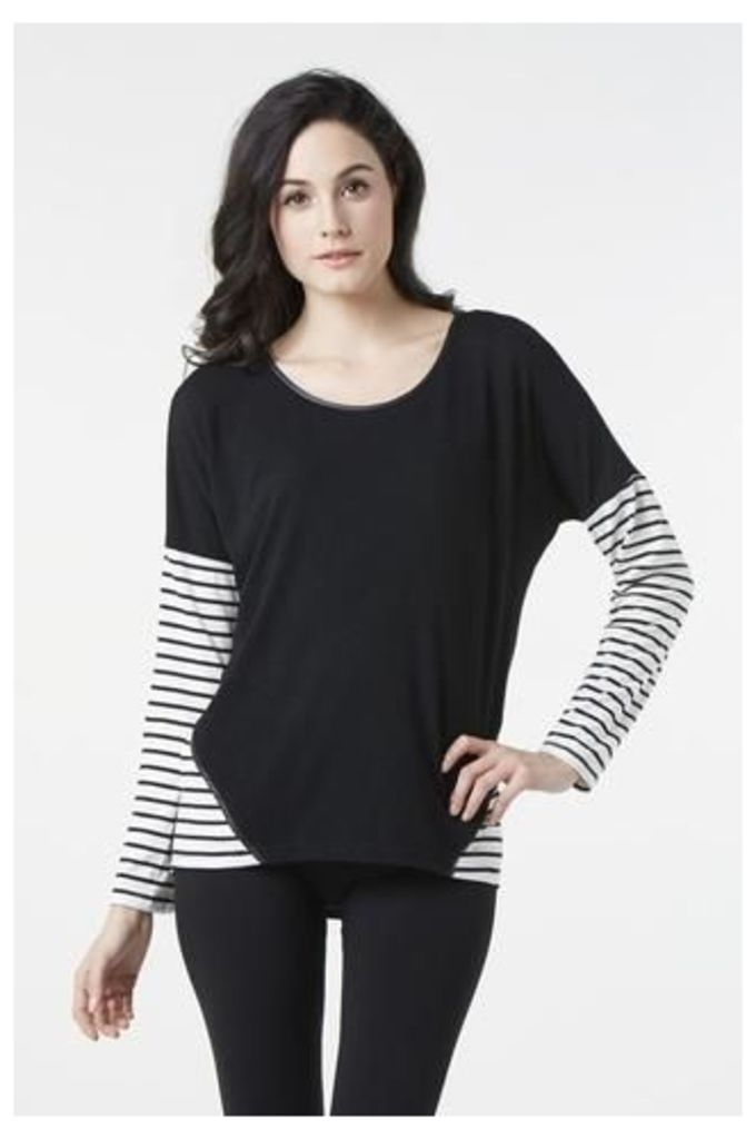 Knit Top With Horizontal Stripe Panels