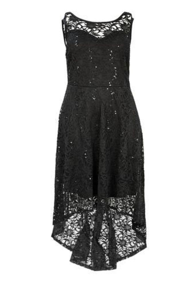 Plus Size Dipped Hem Laced Vintage Dress