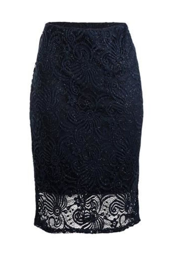 Plus Size Sparkled Laced Pencil Skirt